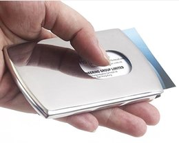 Business Card Holder Women Vogue Thumb Slide Out Stainless Steel Pocket ID Credit Card Holder Case Men