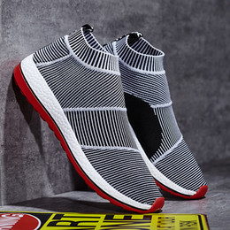 Wholesale KUAYANG New Designed Men Shoes Slip on Casual Shoes Mesh Striped Breathable Lightweight Comfort Sneakers for Sport Jogging
