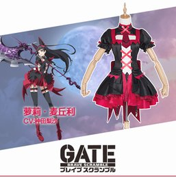 Wholesale Japanese Anime Gate Brave Scramble Cosplay Rory Mercury Costume Lolita Style Dress Arm Wrap Suspenders Bow Hair Band per set