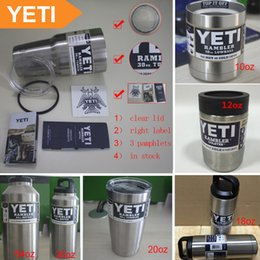 Wholesale YETI oz Yeti Rambler oz Stainless Cup Clear Lid Rambler Cups for Yeti Coolers Cup Sports Mugs Large Stainless Mug DHL