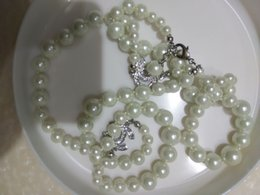 Wholesale Long Set Chain - luxury full crystal set charm 2c long glass pearl necklace