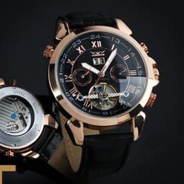 Promotion regarder rose d'or Luxe Jaragar Rose Golden Multifonctionnel Tourbillon Automatique Mécanique Homme Montre Montre en cuir Date 24HR montres automatique