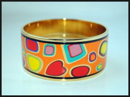 Colorful Stones Series Series 18K gold-plated enamel bangle bracelet for woman Top quality bracelets bangles width 30mm Fashion jewelry