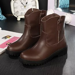 Cowskin Geniune Leather Anti-skid Short Ankle Boots Lady Women Shoes Motorcycle Boot Sz 35-40