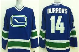 Wholesale Vancouver Canucks Mens Jerseys ALEXANDRE BURROWS Blue Stitched Ice Hockey Jerseys Can Mix Order Size M XXXL