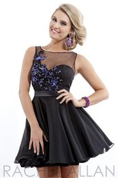 Wholesale 2014 Cute Black Graduation Dresses Babydoll Tulle with sheer neckline and open back Appliques homecoming Gown