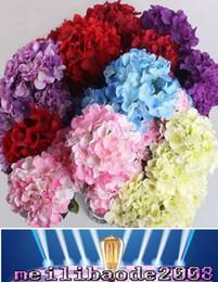 Скидка красные синие цветы поделки свадебный букет цветов голову венок гирлянда украшение дома 15CM искусственный цветок гортензии головы белый красный синий зеленый фиолетовый оранжевый MYY