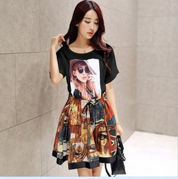 Wholesale 2016 High Grade Big Girls Summer Outfits Beauty Print T Shirt Vintage Skirt Chiffon Sets Casual Outfits KB448