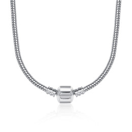 45cm 4 styles 925 Silver Plated Necklace Snake Chain with Clasp Fit European Beads Pandora Necklace With Logo DIY