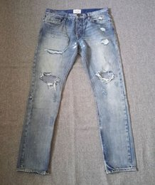 Wholesale Justin Bieber FOG Fear of God Selvedge Denim Vintage Indigo Ankle Zipper Jeans Mens Destroyed Holes Slim Leg Distressed Jeans