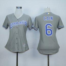Nwe orenzo Cain B2017 Maillot Femme # 6 Llue Gris Maillot Pour Femme Dame Baseball Kansas City Royals # 6 Maillot Alex Gordon Gris Blanc Bleu à partir de dame ville fournisseurs