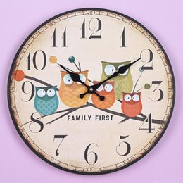 Wholesale Large Wooden Wall Clock Owl Vintage Rustic Shabby Home Cafe Bar Decoration Art