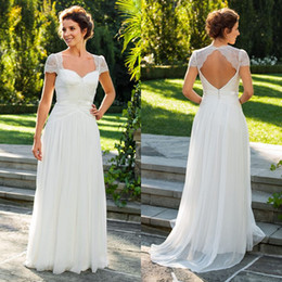 Low Price A Line Sweetheart Beach Ivory Chiffon Wedding Dresses With Short Sleeve Lace Backless Sexy Garden Bridal Wedding Gowns