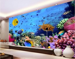 3d wallpaper custom photo non-woven mural wall sticker 3 d hd world coral sea turtle fish painting picture 3d wall room murals wallpaper
