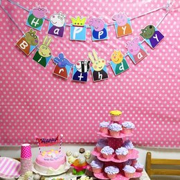 Wholesale Cute Pigs Happy Birthday Banner Bunting Themed Party Flags Party Bunting Flags for Kids Birthday Baby Shower Party