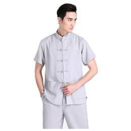 Shanghai Story Chinese Traditional Kung Fu Tops Short Sleeve Tang Suit Clothing For Men Cotton Blend Shirt   Grey