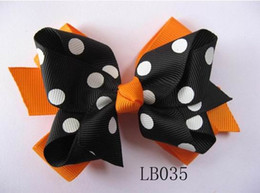 Wholesale-baby girl hair bow grosgrain ribbon with clips Halloween hairbows