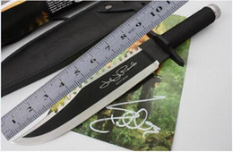 Wholesale Tactical Rambo First Blood II Signature Army Stalone hunting camping SURVIVAL Knife Outdoor gear Knife John stalone Bowie Combat Fighting