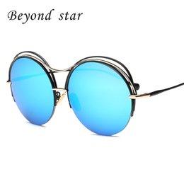 Compra Online Gafas de sol de color rosa-Más allá de Star Round Metal Frame Gafas de sol Mujer Retro Espejo Pink Eyewear Mujer Hombre Gafas de sol de diseño gafas de sol c718-1