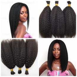 18 black hair en Ligne-Malaisie Kinky Straight Cheveux humains en vrac pour tressage Natural Black 100 Cheveux humains en vrac Bulk 8-30 inch G-EASY