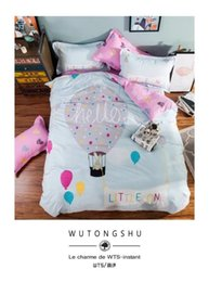 Wholesale Balloons Duvet Cover Fitted Sheet Pillow Case Cotton Duvet Cover Queen Size