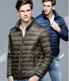 Wholesale Men Down Jackets Ultra light Sport White Duck Down Coats Stand Collar Slim Thin Portable Outerwear Autumn Winter High Quality New