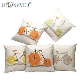 Decorative Cushion Cover Linen Cotton Blended Cheap Cushion Cover Christmas Oranges & bicycle patterns Soft Cushion cover