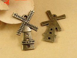 Wholesale A1250 MM Antique Bronze Retro Netherlands Holland windmill charm pendant beads parts manual DIY retro jewelry charms