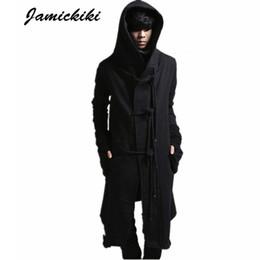 Wholesale Jamickiki European American Avant garde Long Style Hoody Fleece Sweatshirts Mens Black Rope Buckle Hoodies Sweatshirt Outerwear