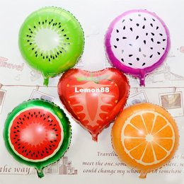 Wholesale More than kinds of balloons watermelon fruit inches aluminum film kiwi fruit strawberry orange carambola pitaya balloon balloon