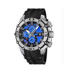 Promotion 2013 new F16600-4 F16600 man in Sky blue and white dial chronograph watch rubber band original box + free shipping+logo