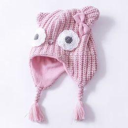 Wholesale 2016 Pink Cotton Baby Owl Hat Cute Baby Girl Crochet Beanies Kids Fall Winter Baby Cap Delicate Handmade Windproof Earmuffs Cap