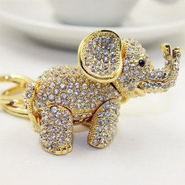 Wholesale 18 K Gold Plated metal Keychain Full Austrian Crystal D Cut Elephant keychain for women Purse Best Friend Gift Custom keychain