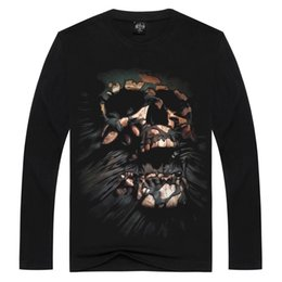 Fashion new creative cotton t shirt long sleeve men's T shirts explosive skull 3DT Shirt