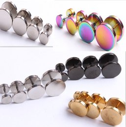 Wholesale Eropean And American Fashion Men s Earring Stud Medical Stainless Earrings Punk Black Circular Dumbbell Earrings for Female mm Hot