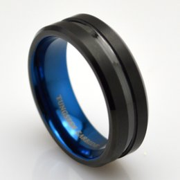Wholesale Trendy Black Tungsten Engagement Ring with Blue Interior mm for Men Women Comfort Fit Beveled Edge Brush Finish