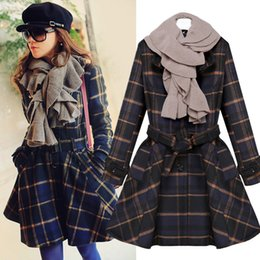 Wholesale Coats Skirt Fur Collars - Star with plaid skirt it2016 women winter new wool coat fur collar coat female autumn Slim coat wholesale price fashion ladies
