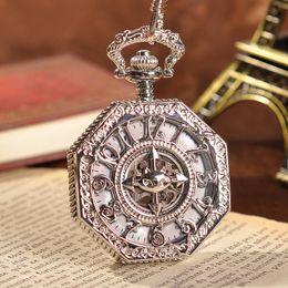 Wholesale Cool Hollow Cross Bat Watch Hexagon Silver Mechanical Pocket Watch Arabic Numerals Dial Hand Wind Silver Movement Watch