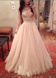 Wholesale Light Peach Sheer Prom Dresses Hot Cheap Sweetheart Lace Tulle Best Seller Chinese Evening Dress