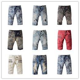 Wholesale Famous Brand Balmain Men Jeans Fashion Printed Balmain ripped Shorts For Mens designer jeans black Balmain Jeans Short Men Biker Pants tommy