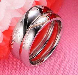 Heart Shape Titanium Steel Ring Couple Wedding Fashion Korean Cool Mix Sizes Wholesale Gift Party Christmas