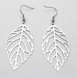 New Trendy 316L stainless steel Leaf Plant Drop Dangle Earrings Anti Allergic for Women Jewelry Mujeres pendiente