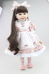 """Muñecas del bjd en Línea-Hot Sale 18 """"Princesa Full Vinilo Baby Dolls Niñas Juguetes para Niña Flor Vestido y Brown oscuro Long Brown Hair Brinquedos"""