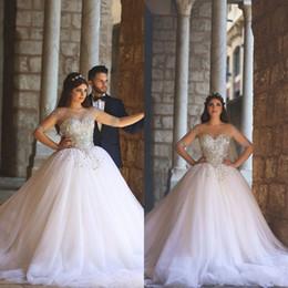 Arabic Ball Gown Wedding Dresses Sheer Bateau Neckline Illusion Long Sleeves Luxury Crystals Tulle Skirt Bridal Gowns Vestido De Novia
