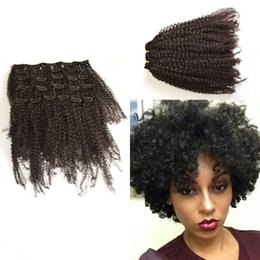 African American Clip in Human Hair extension G-EASY Mongolian Virgin Hair afro Kinky Curly Unprocessed Virgin Hair Natural Color
