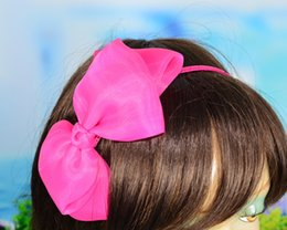 Wholesale Silk Hair Bows For Girls - Headband for girls Chiffon Big Bow 5.5 inches 10 colors girls hair stick hair accessory big hair bow for children