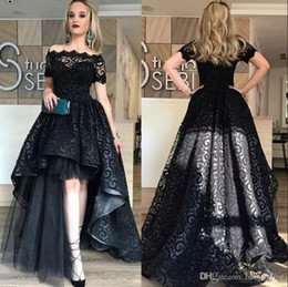 Elegant Black Sexy High Low Long Prom Dresses 2018 Off-the-Shoulder Short Sleeves Formal Evening Gowns Arabic Cocktail Party Wear BA6992