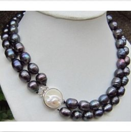 Wholesale Real beautiful tahitian mm black baroque pearl necklace quot