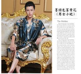 Wholesale Faux silk Mens robe dressing gown for man sleepwear mens kimono male night gowns satin men pajamas dragon bathrobe homewear