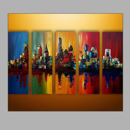 Wholesale 5 Sets Group Paintings Abstract Architecture Design Oil Paintings City View Landscape Painting